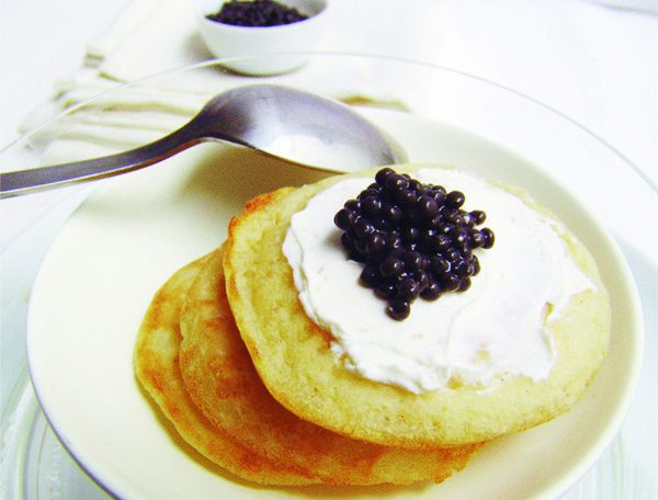 BLINIS WITH MOLUGA AND FRESH CHEESE