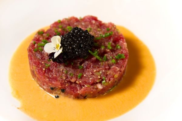 TUNA TARTARE WITH CHOVAS LOBSTER CREAM AND AVOCADO MOUSSE