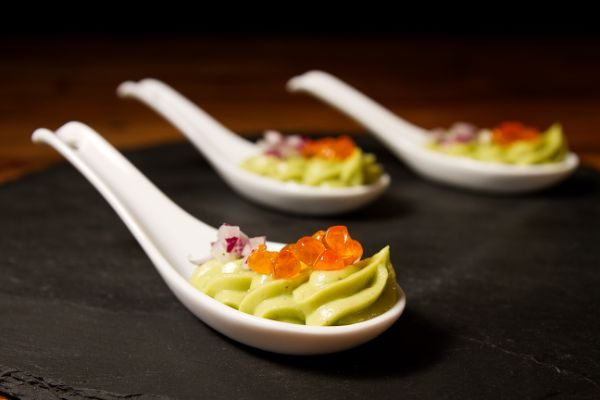AVOCADO CREAM WITH PURPLE ONION AND SPHERIKA GOURMET TROUT ROE