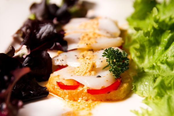 WARM COD SALAD WITH CHOVAS REDFISH CREAM VINAIGRETTE