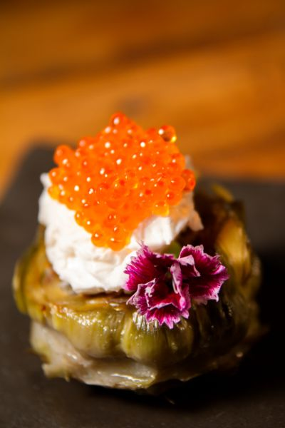 TUDELA FLOWERS WITH POACHED EGGS AND SPHERIKA GOURMET TROUT ROE