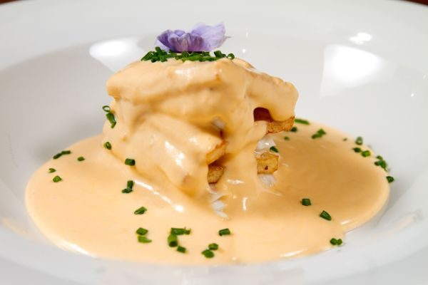 POTATO AND SOLE MILLE-FEUILLE TOPPED WITH CHOVAS REDFISH CREAM