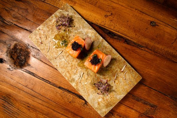 SALMON AND MELON CHUNKS WITH DILL VINAIGRETTE AND BLACK LUMPFISH ROE