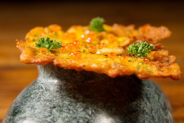 PRAWN FRITTERS WITH SPHERIKA GOURMET TROUT ROE