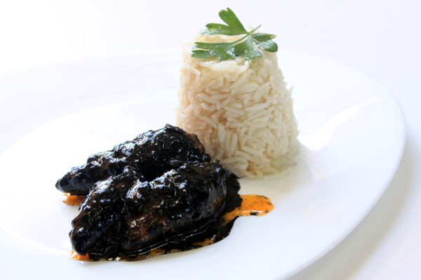 BABY CUTTLEFISH WITH INK AND RICE SIDE