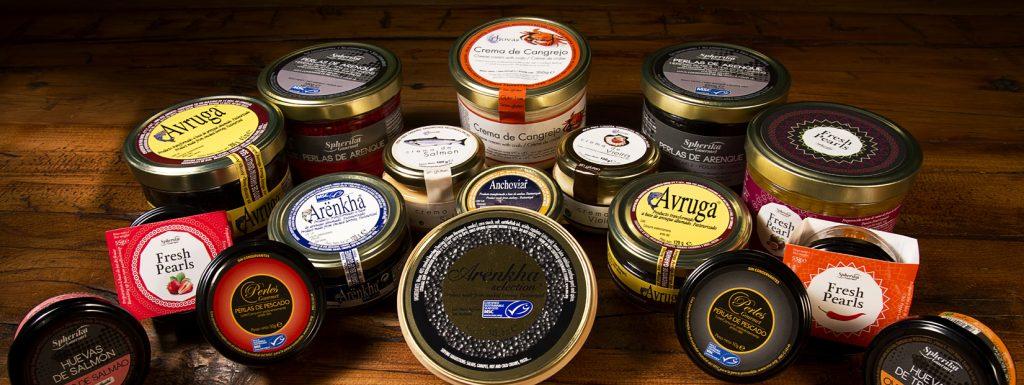 Surtido Pescaviar con productos gourmet procedentes de pesca sostenible.