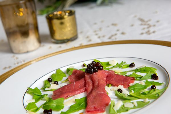 BEEF CARPACCIO WITH FRESH PEARLS OF BALSAMIC MODENA VINEGAR